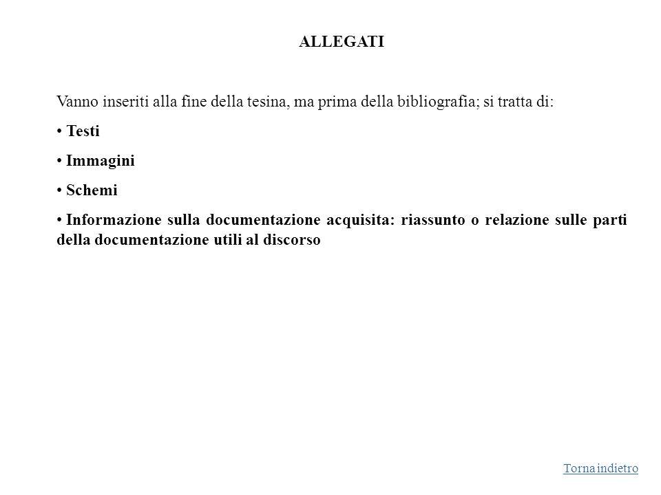 ALLEGATI Vanno inseriti alla fine della tesina, ma prima della bibliografia; si tratta di: Testi.