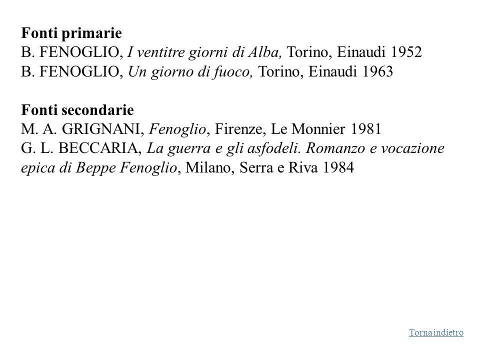 B. FENOGLIO, I ventitre giorni di Alba, Torino, Einaudi 1952