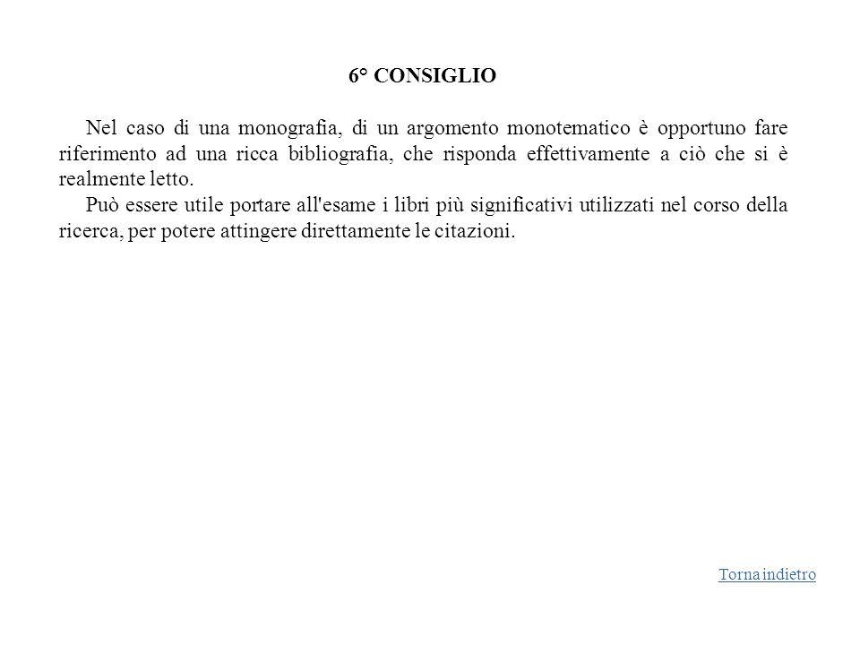 6° CONSIGLIO