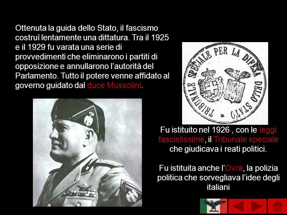 Ottenuta la guida dello Stato, il fascismo costruì lentamente una dittatura. Tra il 1925 e il 1929 fu varata una serie di provvedimenti che eliminarono i partiti di opposizione e annullarono l'autorità del Parlamento. Tutto il potere venne affidato al governo guidato dal duce Mussolini.