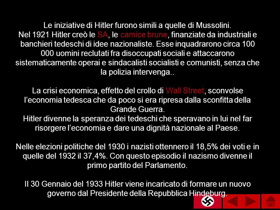 Le iniziative di Hitler furono simili a quelle di Mussolini