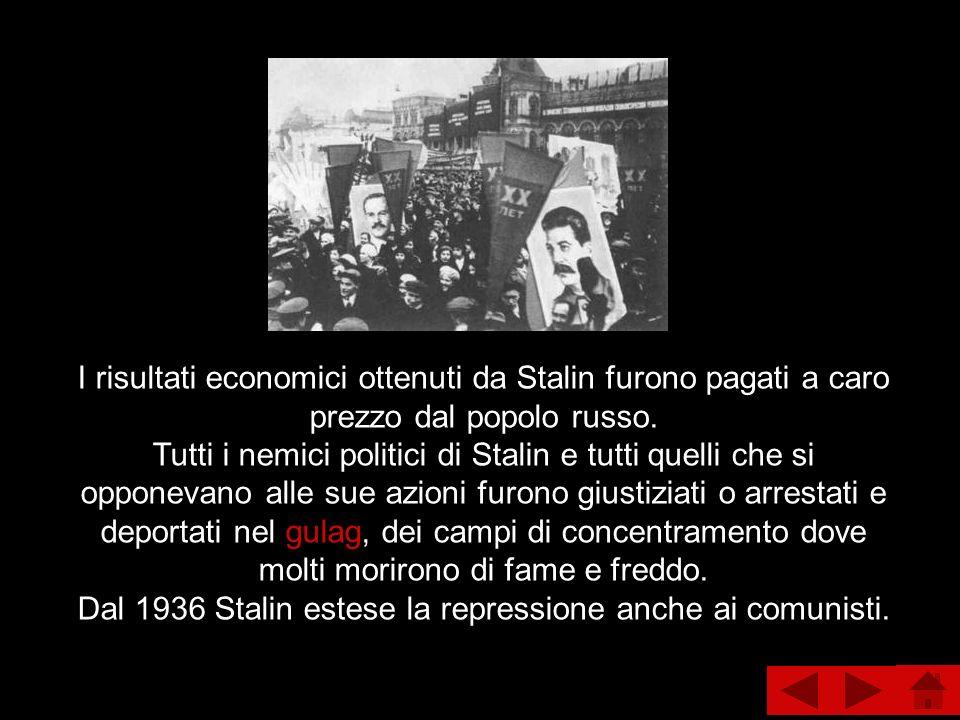 I risultati economici ottenuti da Stalin furono pagati a caro prezzo dal popolo russo.