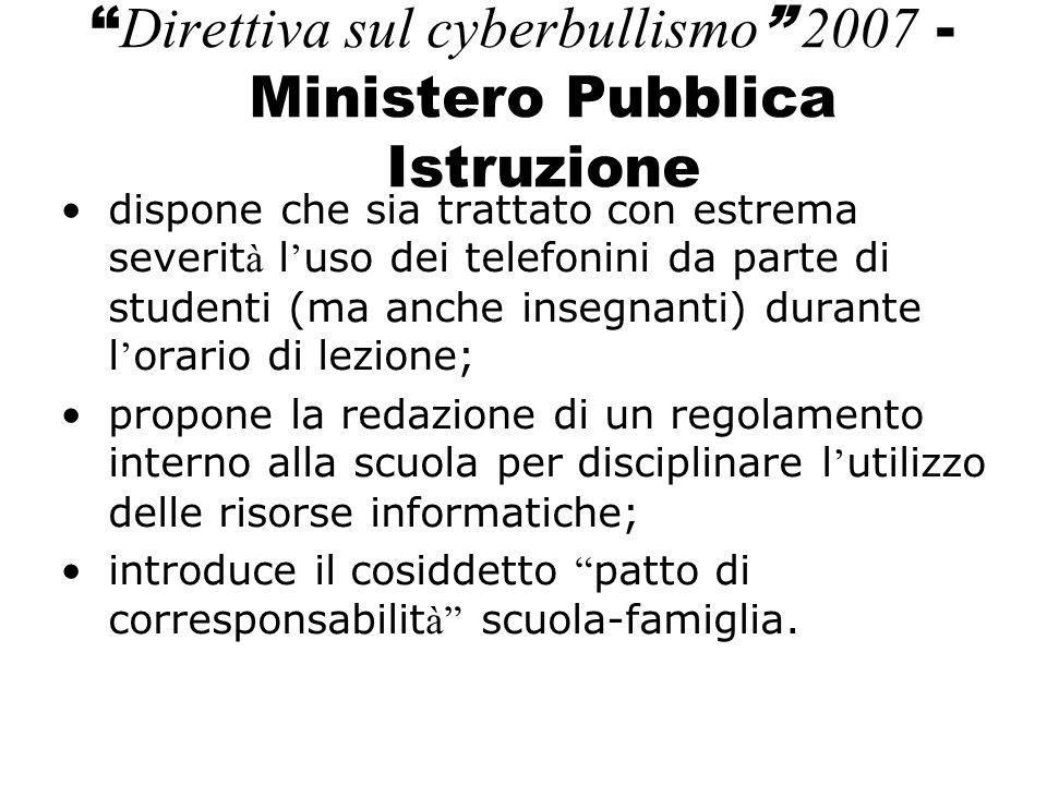 Direttiva sul cyberbullismo 2007 - Ministero Pubblica Istruzione
