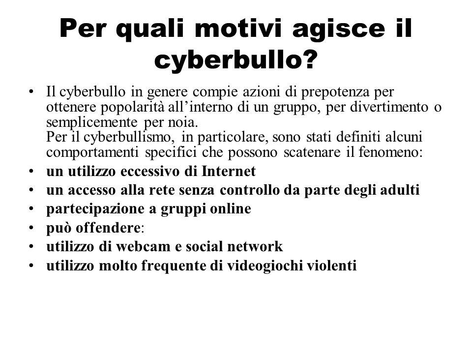 Per quali motivi agisce il cyberbullo