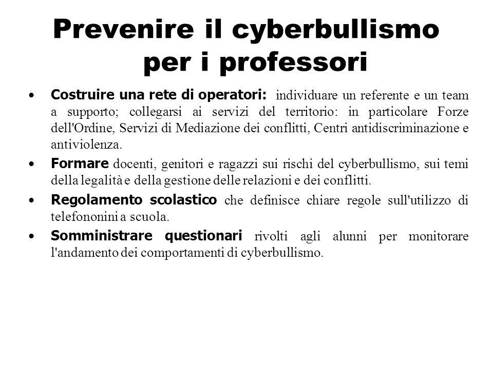 Prevenire il cyberbullismo per i professori