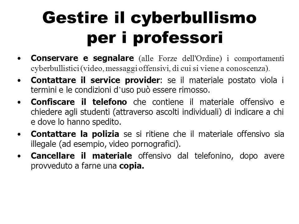 Gestire il cyberbullismo per i professori