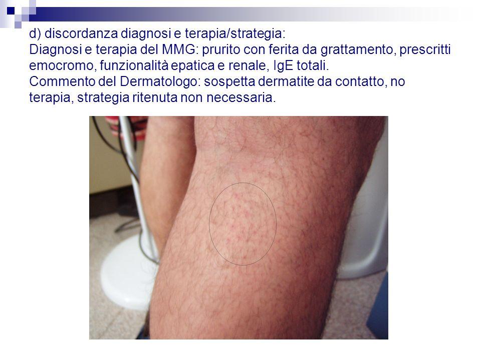 d) discordanza diagnosi e terapia/strategia: Diagnosi e terapia del MMG: prurito con ferita da grattamento, prescritti emocromo, funzionalità epatica e renale, IgE totali.