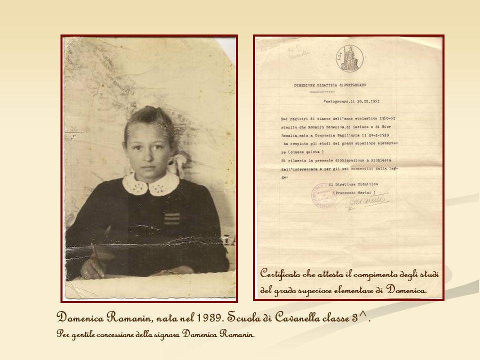 Domenica Romanin, nata nel 1939. Scuola di Cavanella classe 3^.