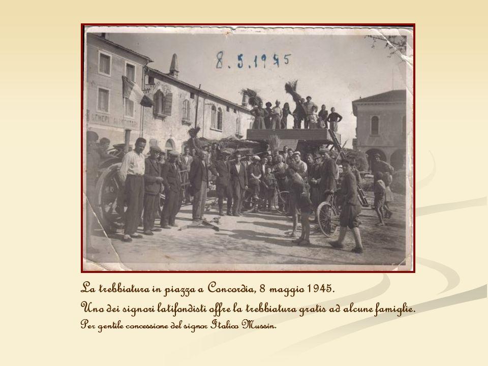 La trebbiatura in piazza a Concordia, 8 maggio 1945.