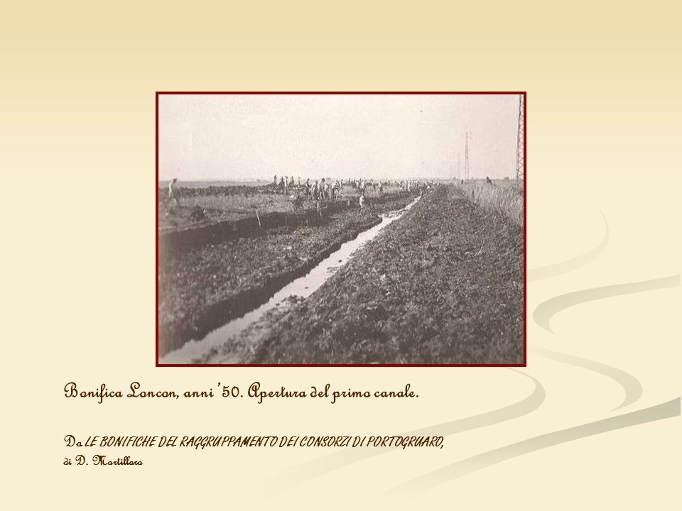 Bonifica Loncon, anni '50. Apertura del primo canale.