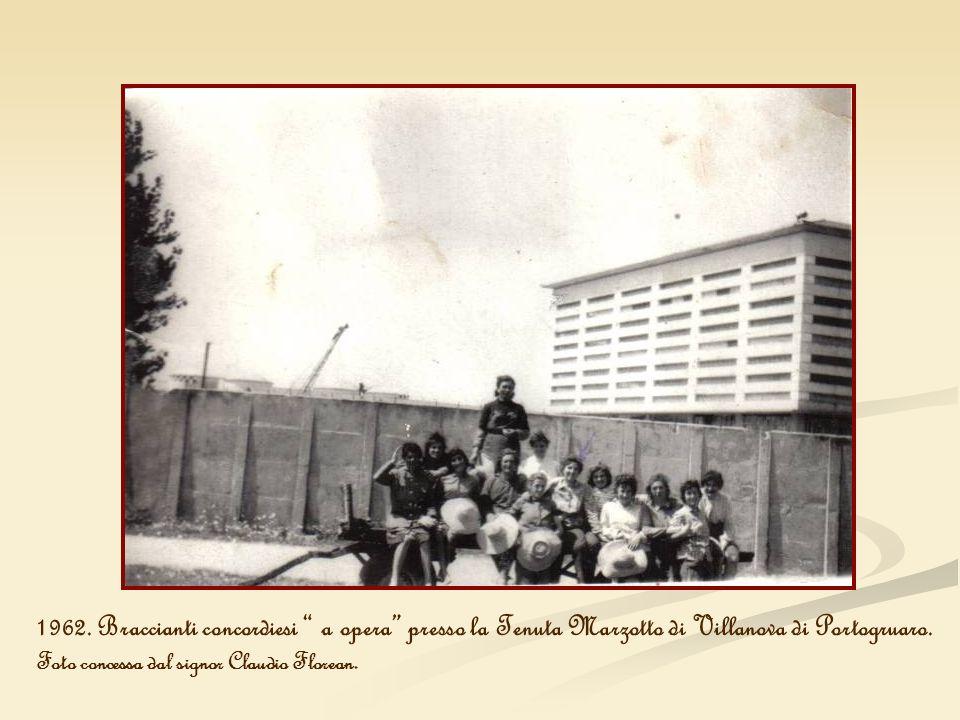 1962. Braccianti concordiesi a opera presso la Tenuta Marzotto di Villanova di Portogruaro.