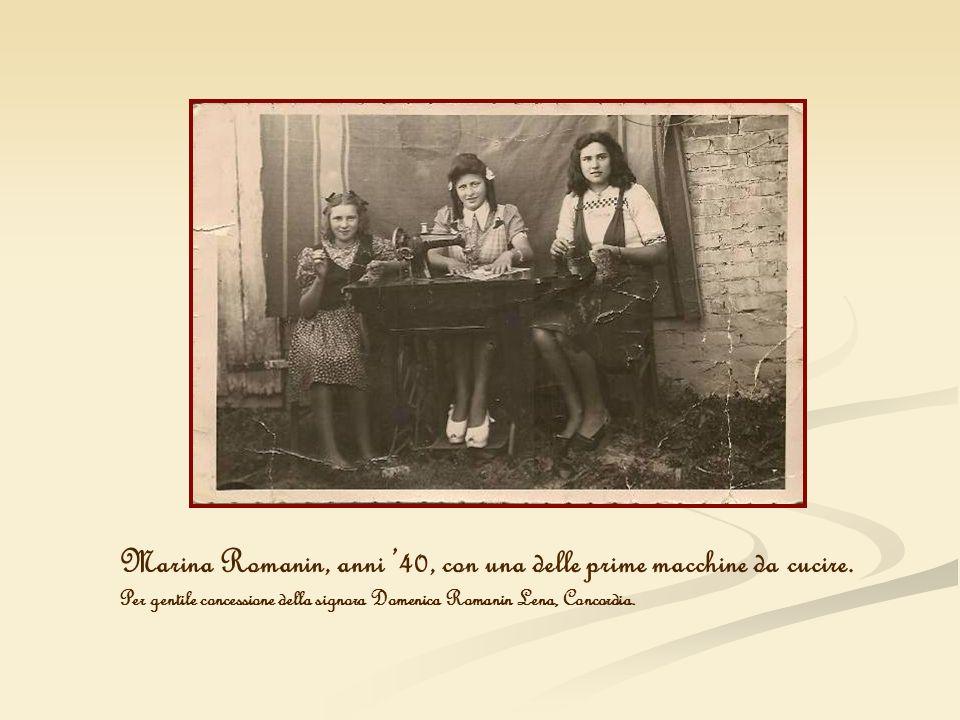 Marina Romanin, anni '40, con una delle prime macchine da cucire.