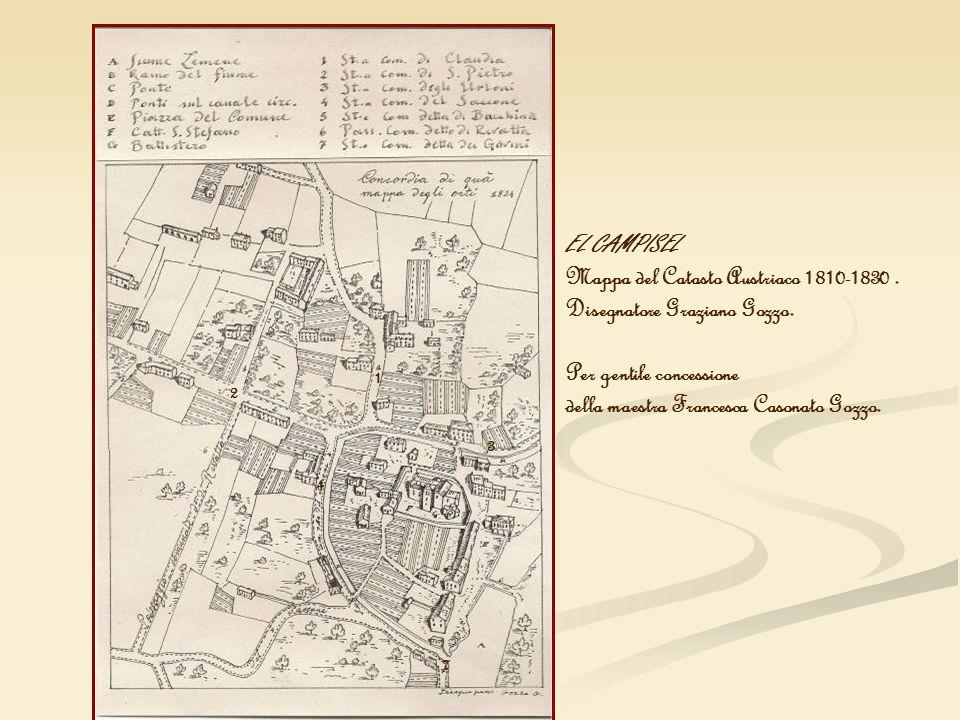 Mappa del Catasto Austriaco 1810-1830 . Disegnatore Graziano Gozzo.