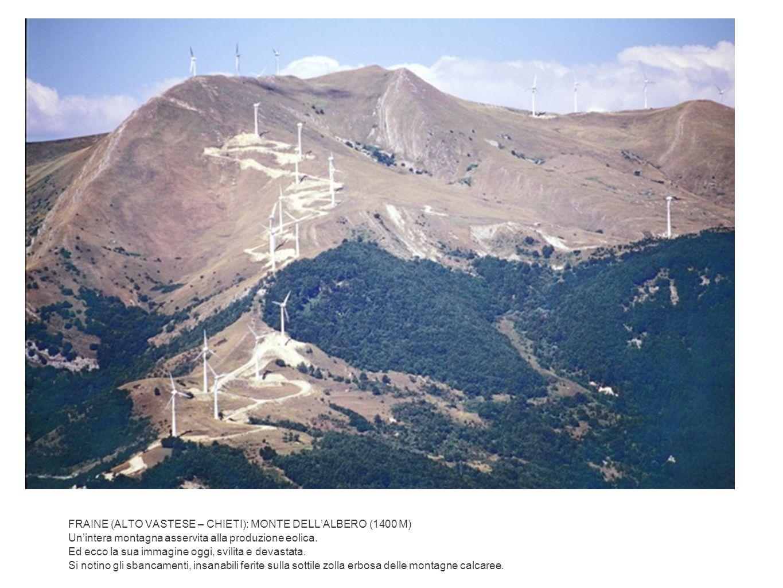 FRAINE (ALTO VASTESE – CHIETI): MONTE DELL'ALBERO (1400 M) Un'intera montagna asservita alla produzione eolica.