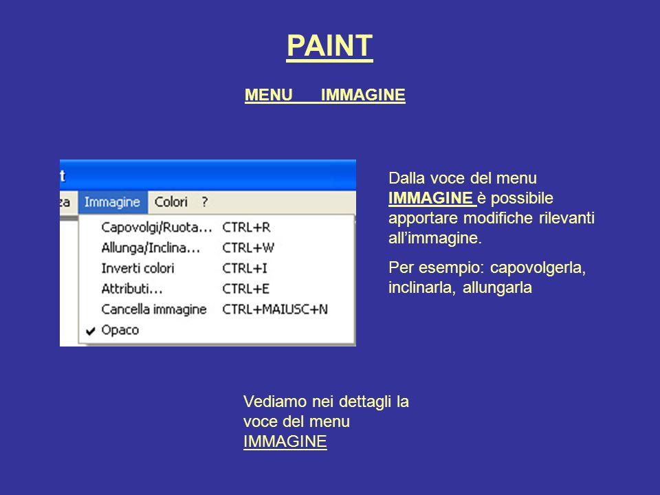 PAINT MENU IMMAGINE. Dalla voce del menu IMMAGINE è possibile apportare modifiche rilevanti all'immagine.