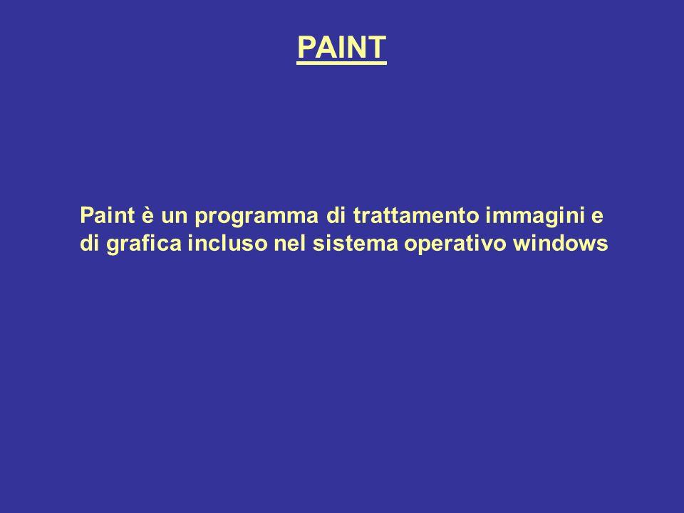 PAINT Paint è un programma di trattamento immagini e di grafica incluso nel sistema operativo windows.