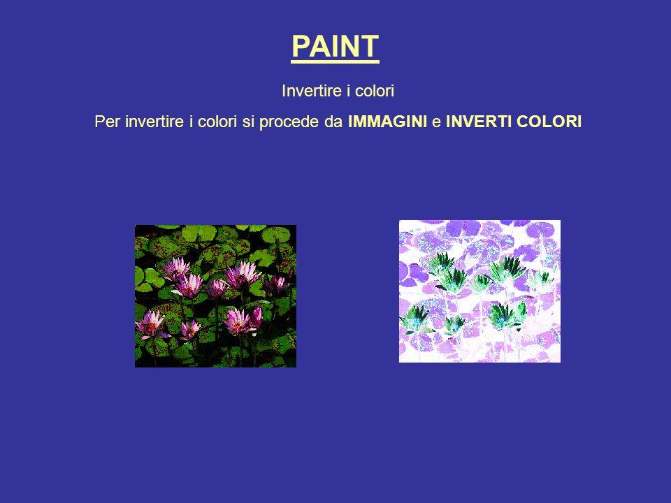 Per invertire i colori si procede da IMMAGINI e INVERTI COLORI