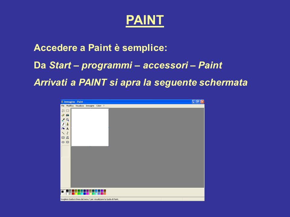 PAINT Accedere a Paint è semplice: