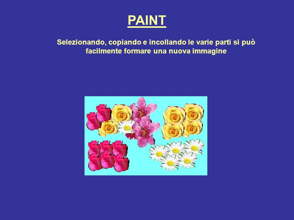 PAINT Selezionando, copiando e incollando le varie parti si può facilmente formare una nuova immagine.