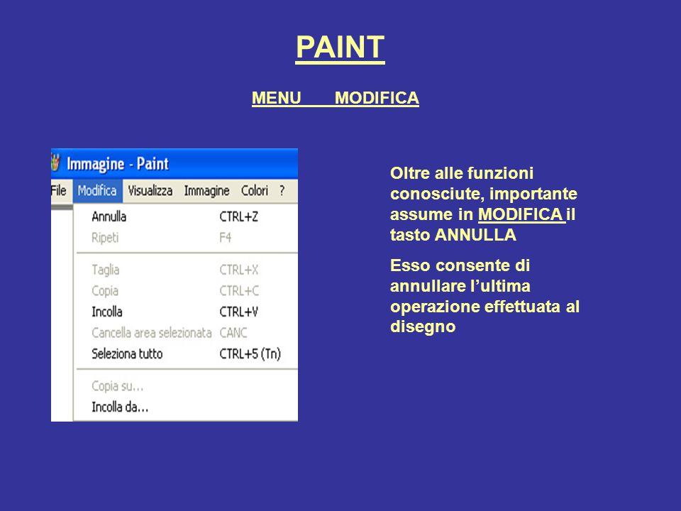 PAINT MENU MODIFICA. Oltre alle funzioni conosciute, importante assume in MODIFICA il tasto ANNULLA.