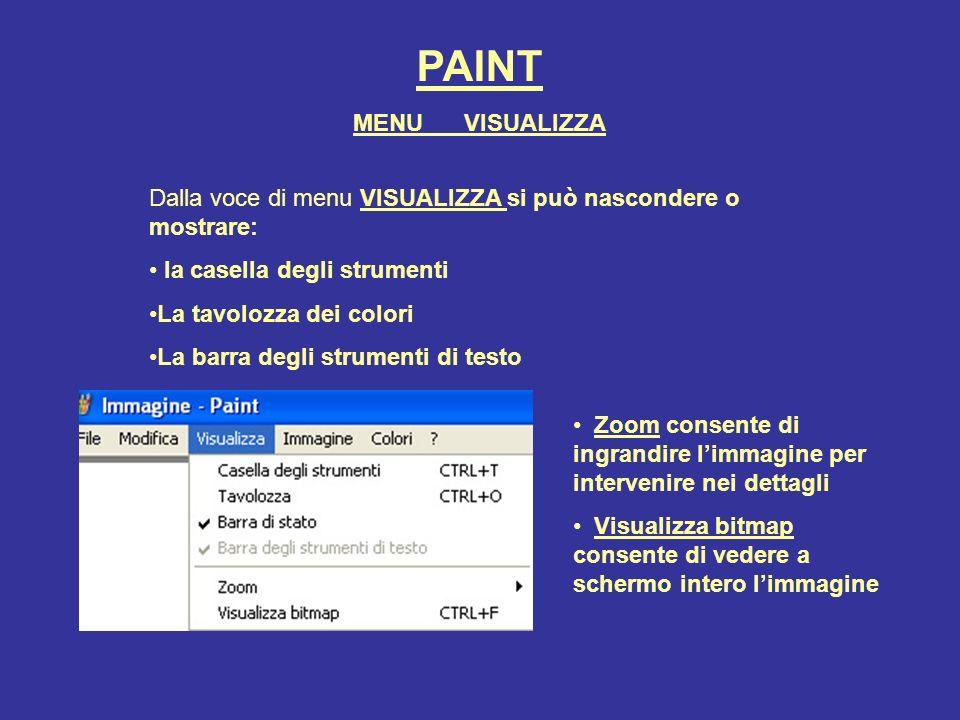PAINT MENU VISUALIZZA. Dalla voce di menu VISUALIZZA si può nascondere o mostrare: la casella degli strumenti.