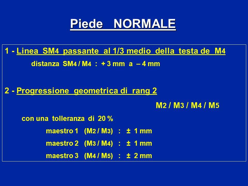 Piede NORMALE 1 - Linea SM4 passante al 1/3 medio della testa de M4