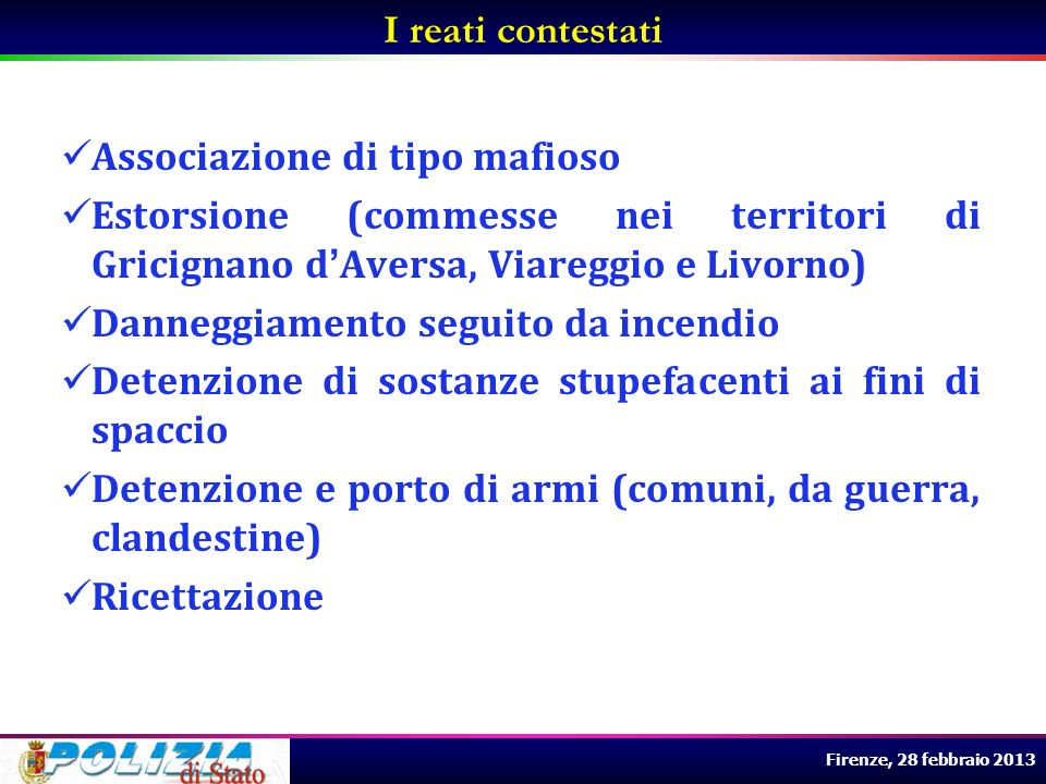 I reati contestati Associazione di tipo mafioso. Estorsione (commesse nei territori di Gricignano d'Aversa, Viareggio e Livorno)