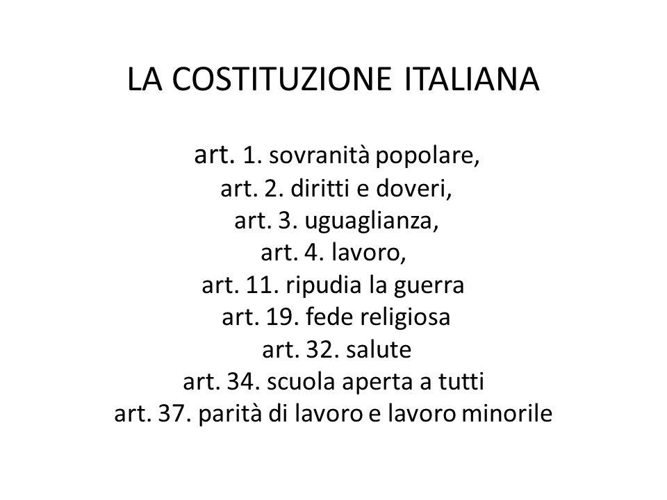 LA COSTITUZIONE ITALIANA art. 1. sovranità popolare, art. 2