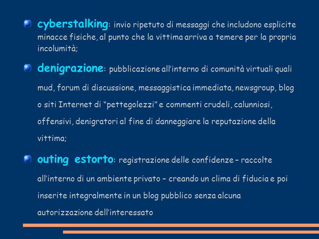 cyberstalking: invio ripetuto di messaggi che includono esplicite minacce fisiche, al punto che la vittima arriva a temere per la propria incolumità;
