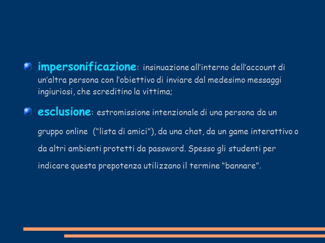 impersonificazione: insinuazione all'interno dell'account di un'altra persona con l'obiettivo di inviare dal medesimo messaggi ingiuriosi, che screditino la vittima;
