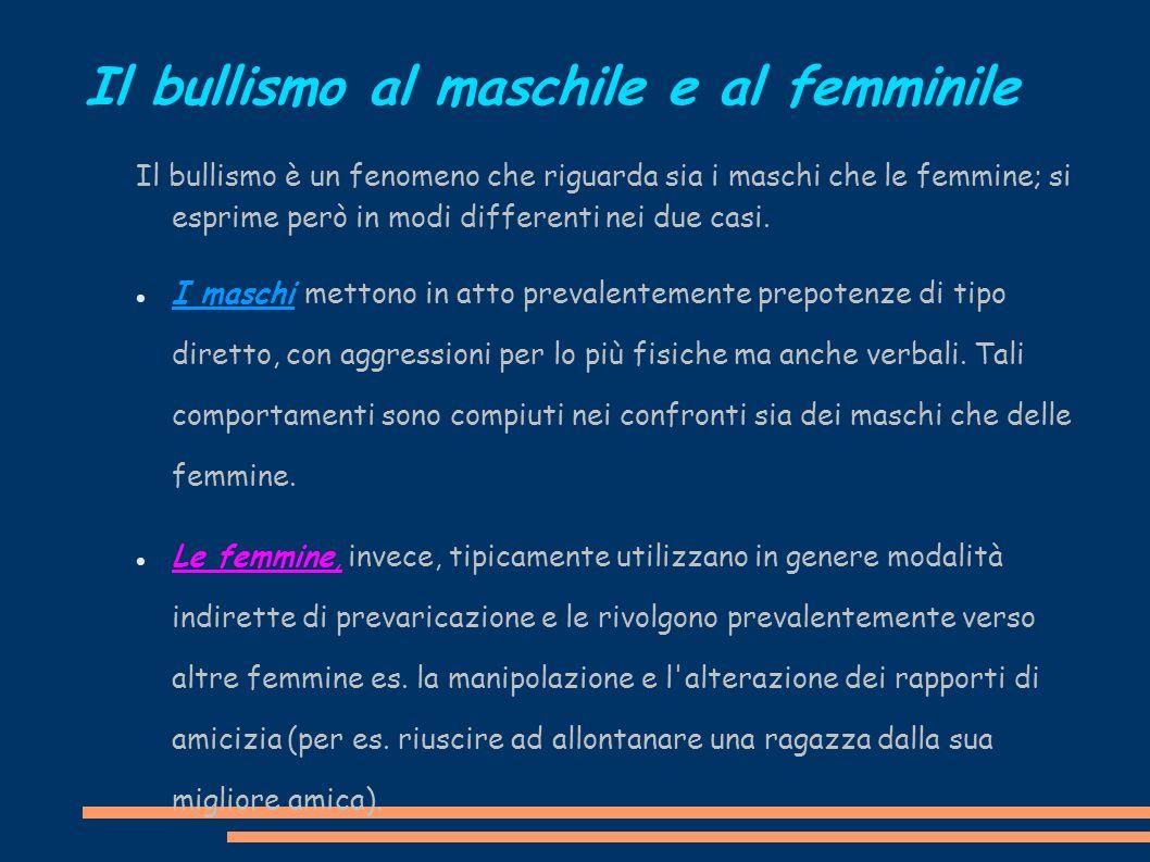 Il bullismo al maschile e al femminile