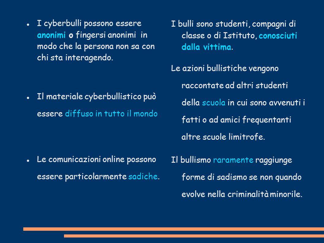 I cyberbulli possono essere anonimi o fingersi anonimi in modo che la persona non sa con chi sta interagendo.