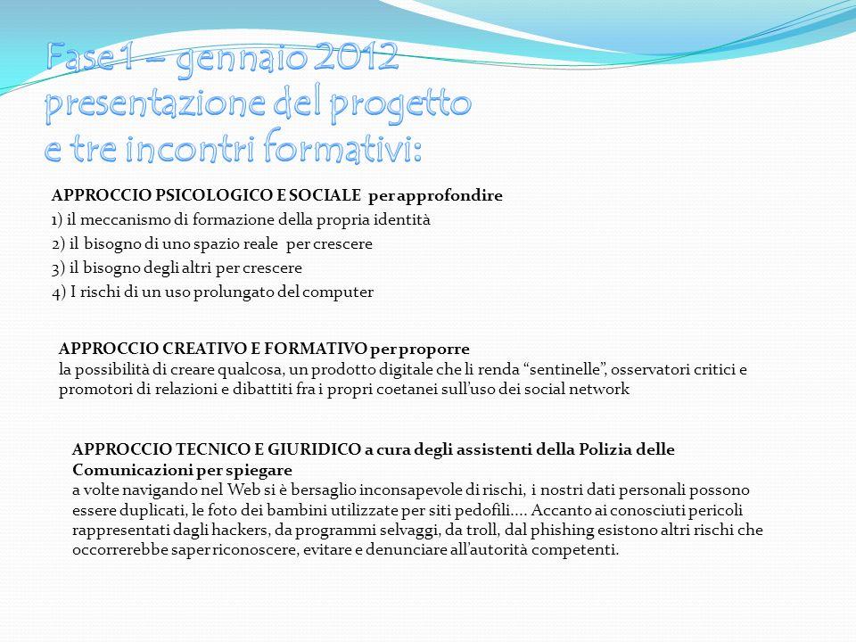 Fase 1 – gennaio 2012 presentazione del progetto e tre incontri formativi: