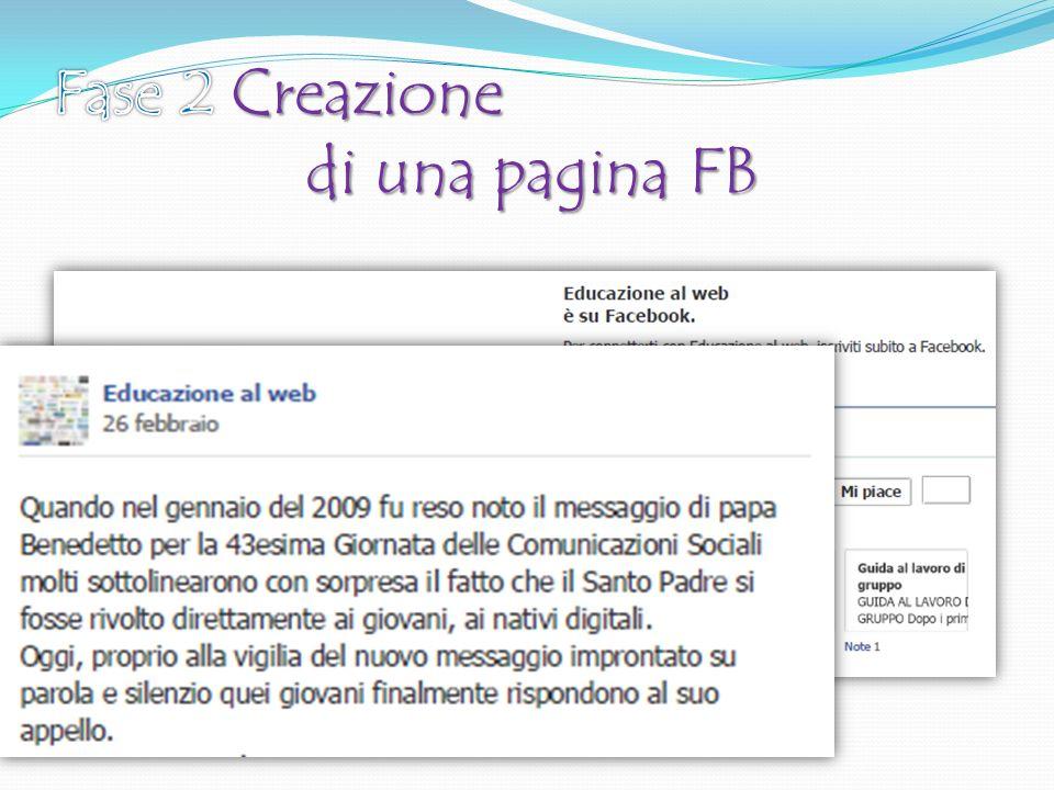 Fase 2 Creazione di una pagina FB