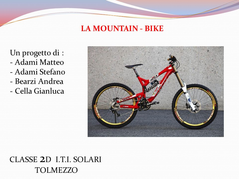 LA MOUNTAIN - BIKE Un progetto di : Adami Matteo. Adami Stefano. Bearzi Andrea. Cella Gianluca.