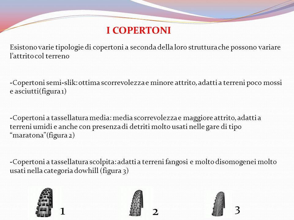 I COPERTONI Esistono varie tipologie di copertoni a seconda della loro struttura che possono variare l'attrito col terreno.