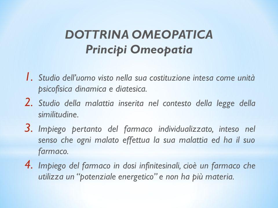 DOTTRINA OMEOPATICA Principi Omeopatia