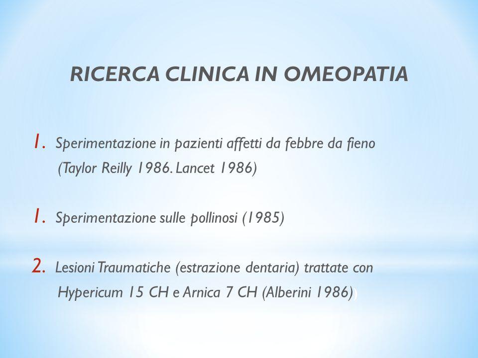 RICERCA CLINICA IN OMEOPATIA