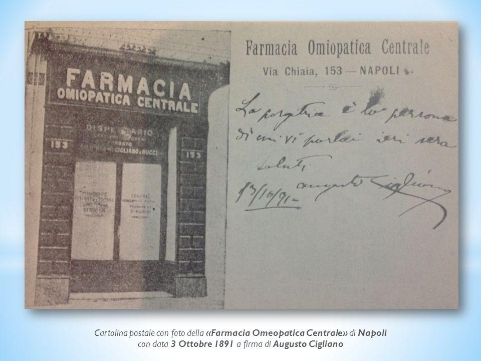 con data 3 Ottobre 1891 a firma di Augusto Cigliano