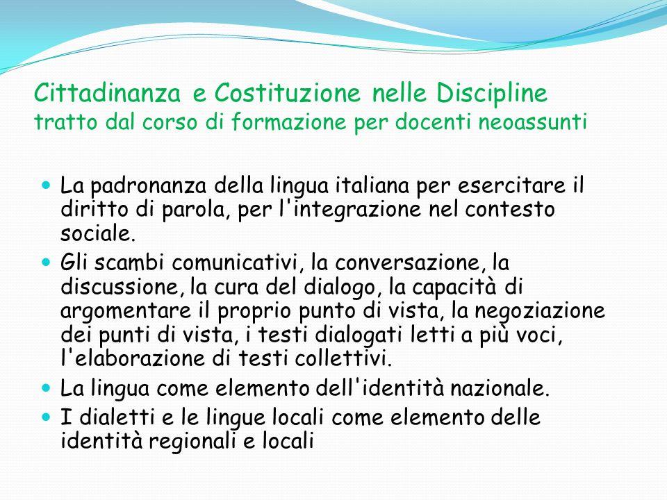 Cittadinanza e Costituzione nelle Discipline tratto dal corso di formazione per docenti neoassunti