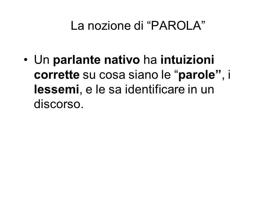La nozione di PAROLA Un parlante nativo ha intuizioni corrette su cosa siano le parole , i lessemi, e le sa identificare in un discorso.