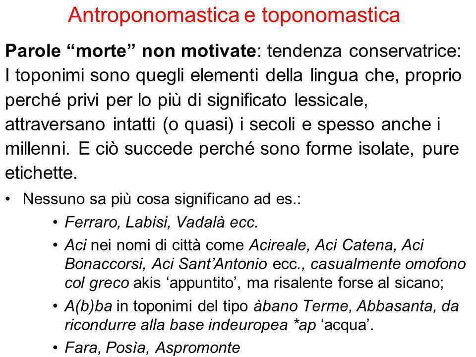 Antroponomastica e toponomastica