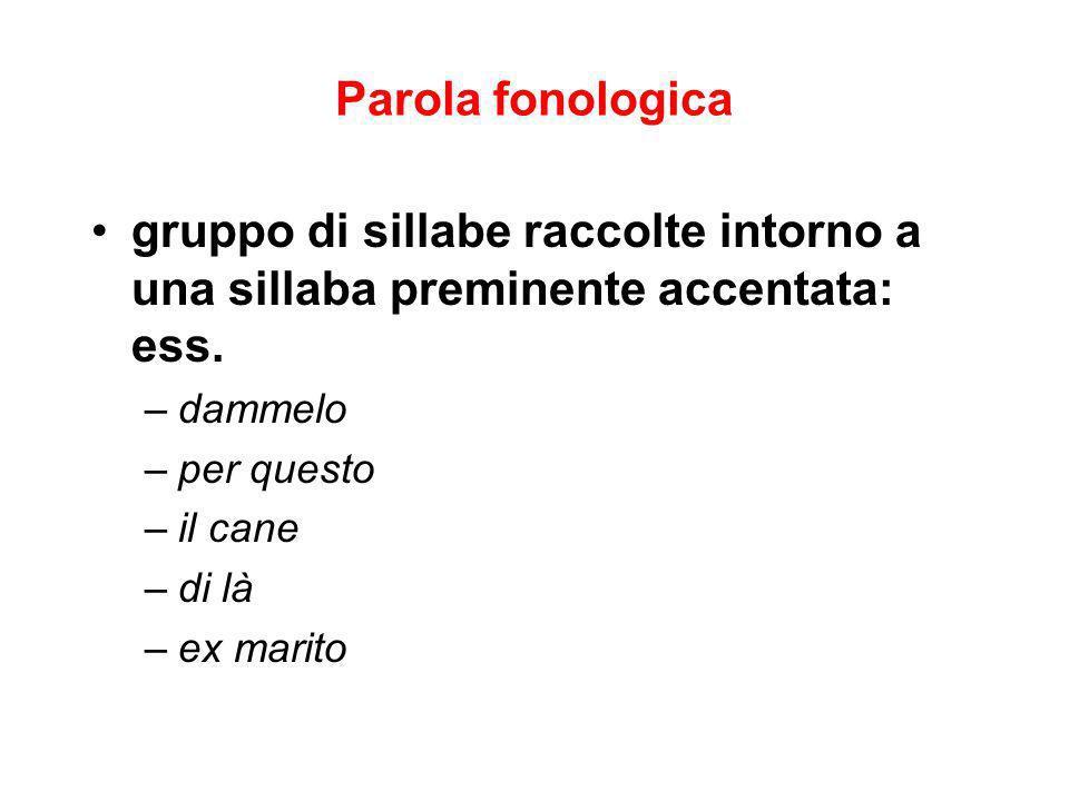 Parola fonologica gruppo di sillabe raccolte intorno a una sillaba preminente accentata: ess. dammelo.