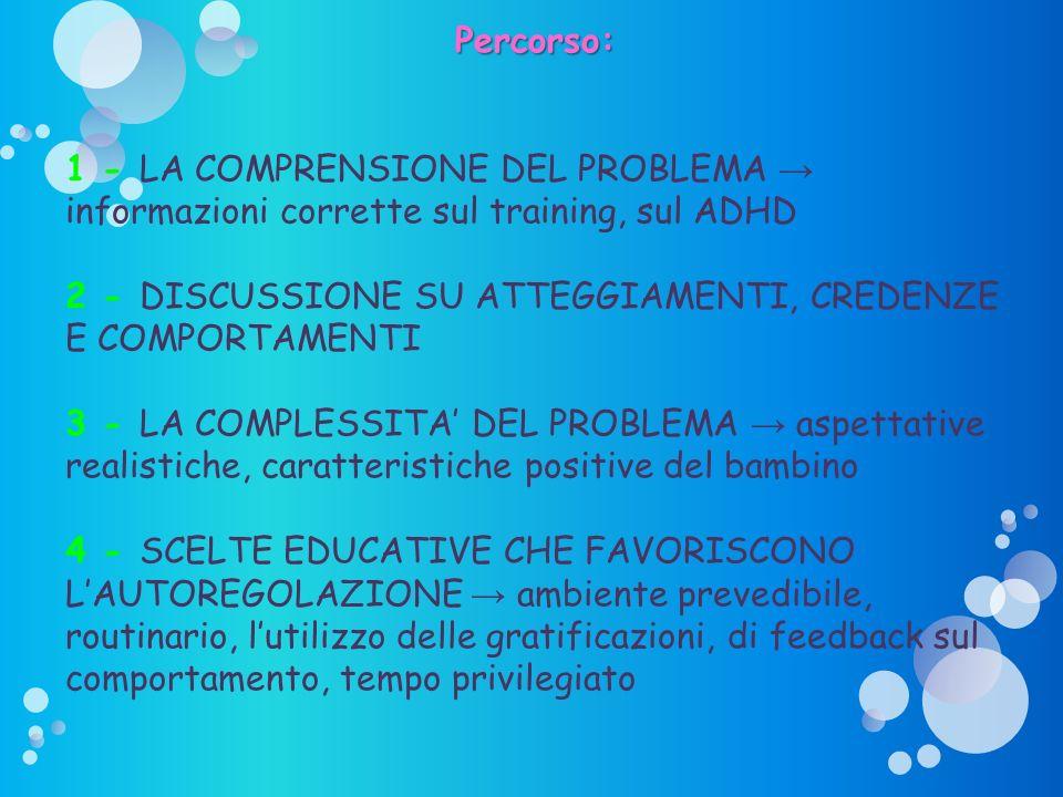 Percorso: 1 - LA COMPRENSIONE DEL PROBLEMA → informazioni corrette sul training, sul ADHD.