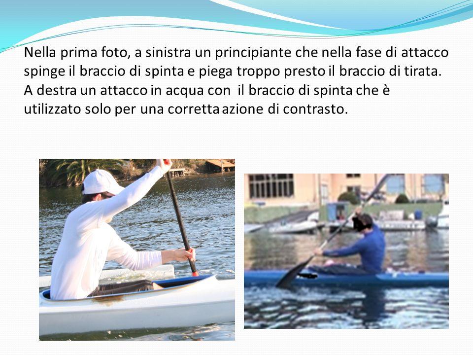 Nella prima foto, a sinistra un principiante che nella fase di attacco spinge il braccio di spinta e piega troppo presto il braccio di tirata.