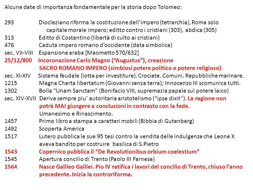 Alcune date di importanza fondamentale per la storia dopo Tolomeo: