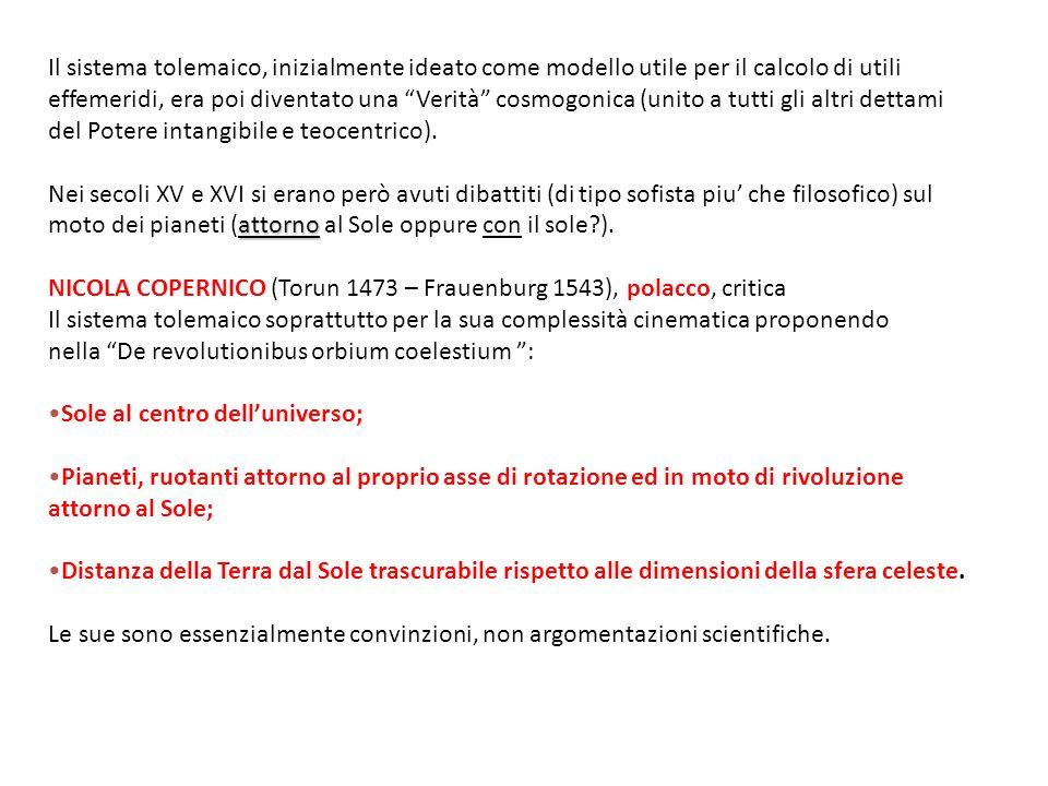 Il sistema tolemaico, inizialmente ideato come modello utile per il calcolo di utili