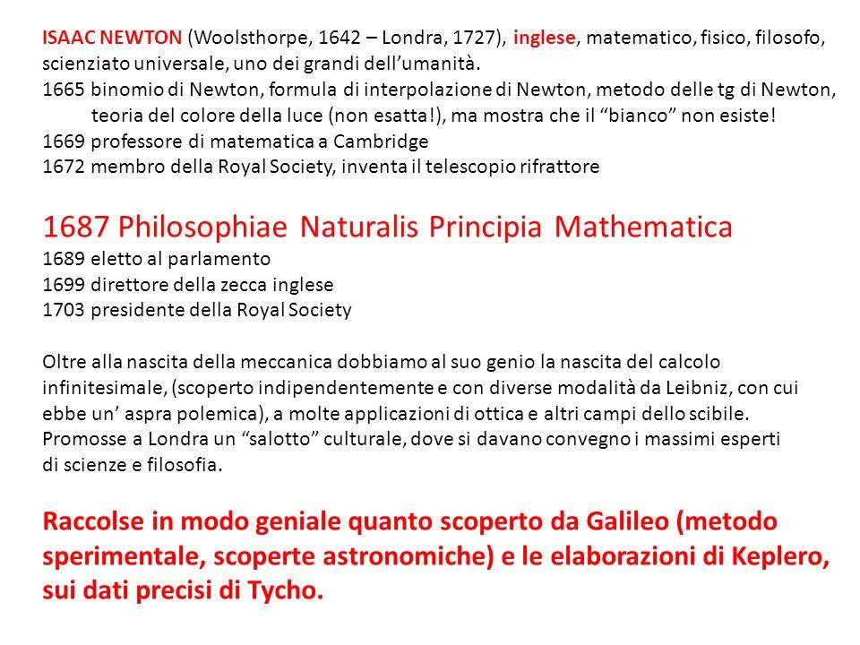 1687 Philosophiae Naturalis Principia Mathematica