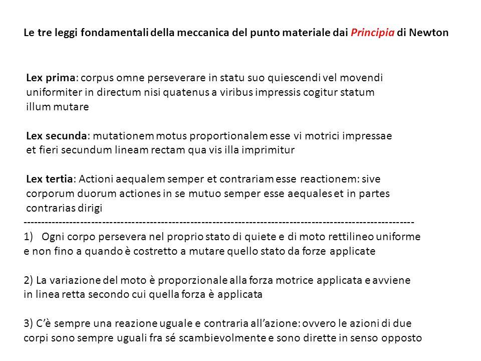 Le tre leggi fondamentali della meccanica del punto materiale dai Principia di Newton