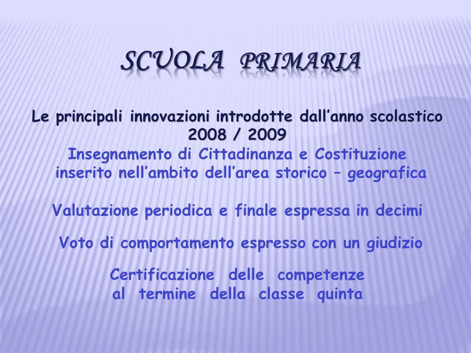 Scuola Primaria Le principali innovazioni introdotte dall'anno scolastico. 2008 / 2009. Insegnamento di Cittadinanza e Costituzione.